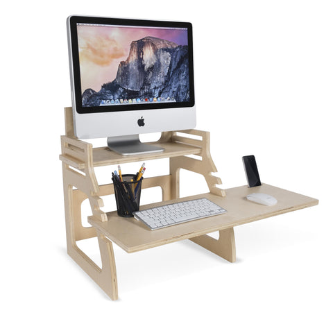 UPDESK Wooden Adjustable Monitor Stand