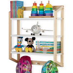 UTAH 3 Tier Floating Shelves with 3 Hooks for Nursery and Kids Room – White and Natural - Wallniture