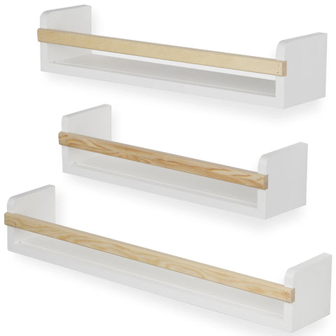 UTAH Multisize Wall Shelf for Nursery and Kids Room – Set of 3 – White and Natural