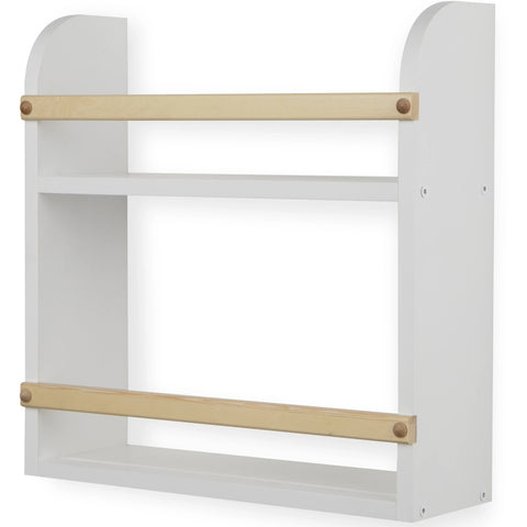 Utah 2 Tier Wall Shelf for Nursery and Kids Room – White and Natural