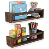 UTAH Floating Shelves and Wall Bookshelf– Set of 2 – Burnt Wash Brown - Wallniture