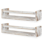 UTAH Floating Shelves and Wall Bookshelf – Set of 2 – Burnt White - Wallniture