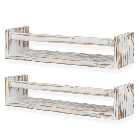 UTAH Floating Shelves and Wall Bookshelf – 15.7' Length – Set of 2 – Burnt White - Wallniture