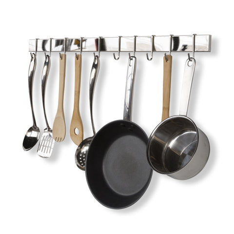"VOLKAN Wall Mount Kitchen Utensil Holder with 10 S Hooks for Hanging – 30"" Length – Set of 2 – Silver, Black - Wallniture"