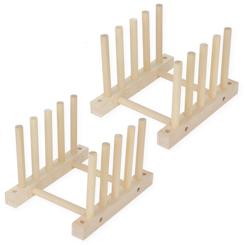 WOODEN Dish rack - 4 Sectional - Set of 2 - Natural - Wallniture