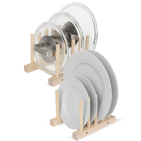 WOODEN Dish rack Kitchen Cabinet Organizer - 4 Sectional - Set of 2 - Natural - Wallniture