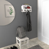 "OHIO Coat Rack Entryway Organizer with Key Hooks For Hanging and Mail Holder - 13"" Length - White - Wallniture"