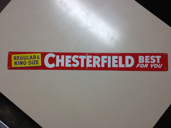 Chesterfield Cigarettes Tin Door Push Sign