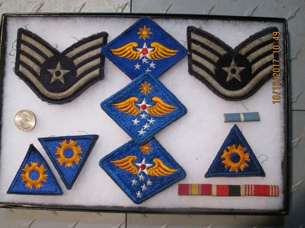 Military Patch / Pin Collection in show case