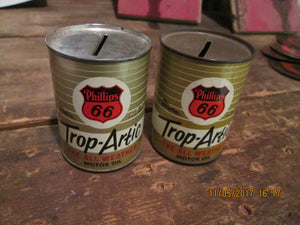Pair of Vintage Phillips 66 Trop Artic Oil Can Miniature Banks