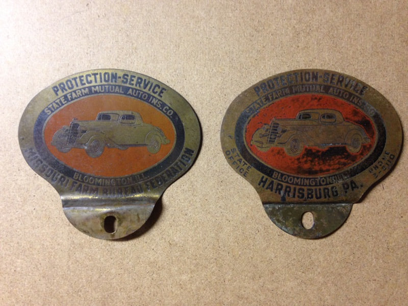 Pair of Vintage State Farm License Plate Toppers