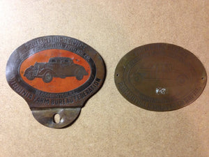 Pair of Vintage License Plate Toppers