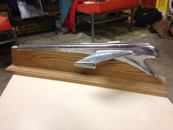 Vintage Pontiac Hood Ornament on Wooden Display - SOLD