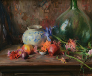 "Quang Ho | ""Still Life with Green Glass, Florals, and Fruit"""