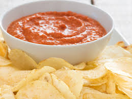 red pepper dip with potato chips