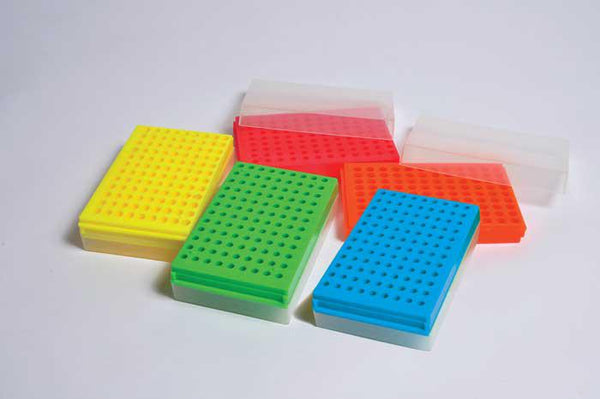 Reversible Racks for Microcentrifuge Tubes, Assorted Colors, PP - lyonscientific
