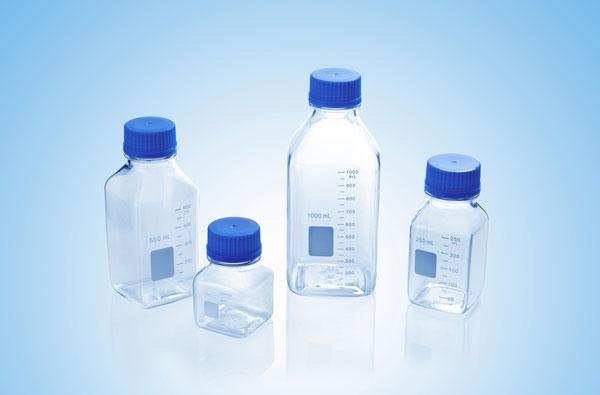 Media / Storage Bottles, Square, Clear Plastic (PC)