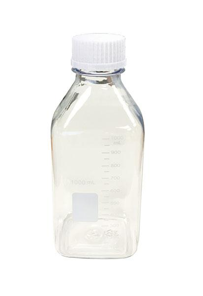 Media / Storage Bottles, Square, Clear Plastic (PET)