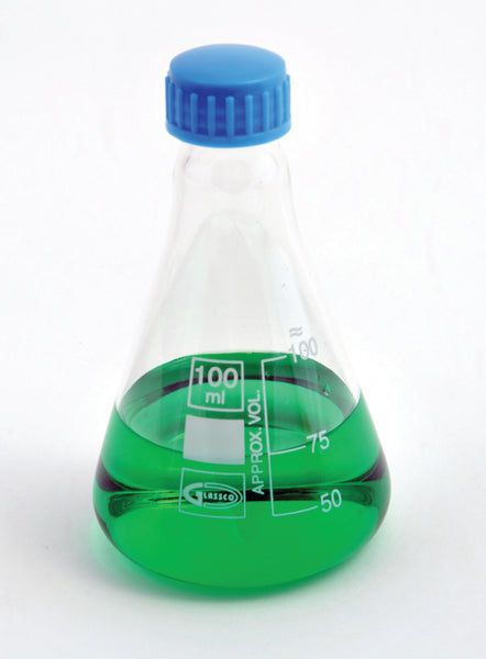 Erlenmeyer Flasks, with Screw Cap, Borosilicate Glass - lyonscientific