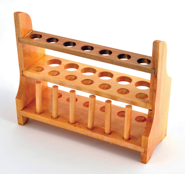 Test Tube Rack, 13-Tube, Wooden - lyonscientific