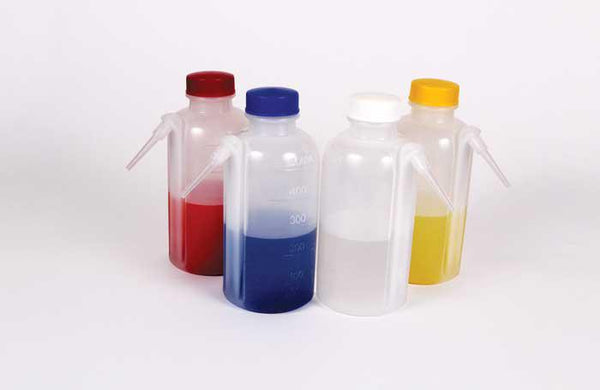 Wash Bottles, Unitary Colored Caps, LDPE - lyonscientific