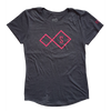 Ladies tee - dark grey with pink logo