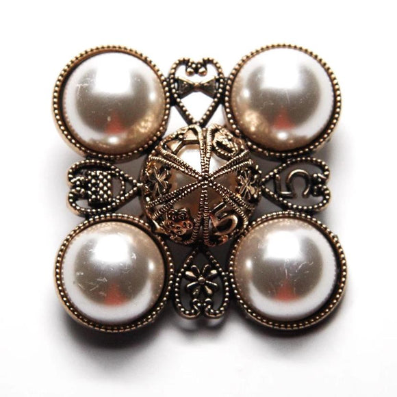 Square Antique Gold Pearl Brooch - FREEda Women NYC