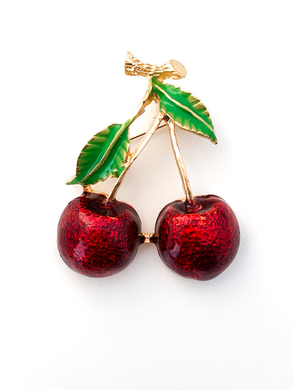 Twin Red Cherry Brooch - FREEda Women NYC