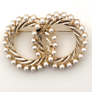 Vintage Faux Pearl Twin Circle Brooch - FREEda Women NYC