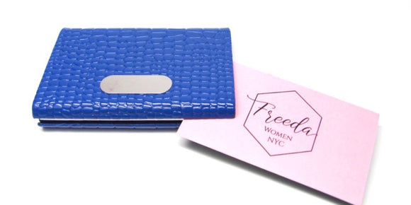 Royal Blue Leather Business Card Holder - FREEda Women NYC