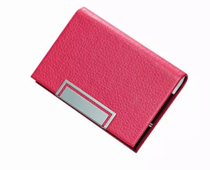 Hot Pink Leather Business Card Holder - FREEda Women NYC
