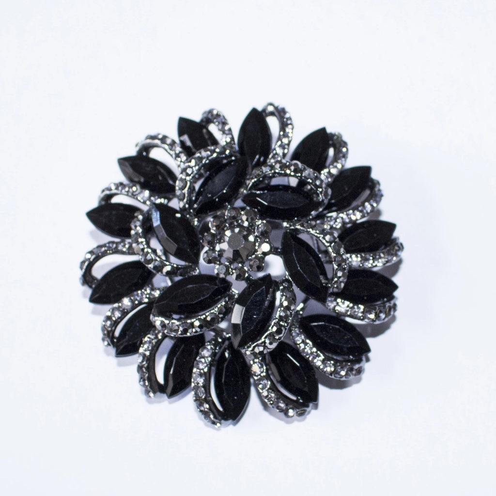 "Round 2"" Black Silver Rhinestone and Crystal Brooch Pin"