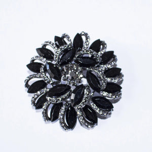 "Round 2"" Black Silver Rhinestone and Crystal Brooch Pin - FREEda Women NYC"
