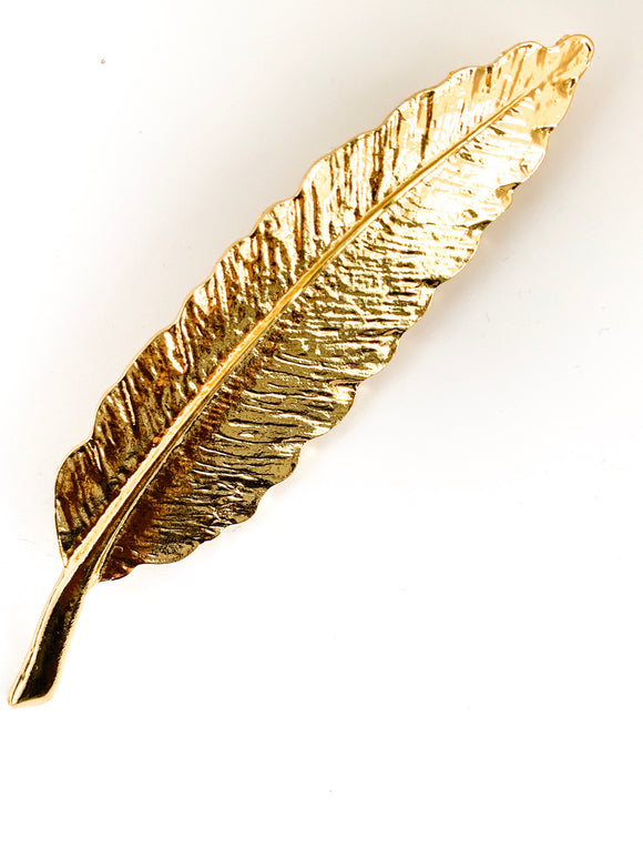 Polished Gold Feather Brooch