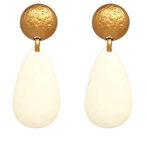 Gold and Cream Two Toned Drop Earrings - FREEda Women NYC