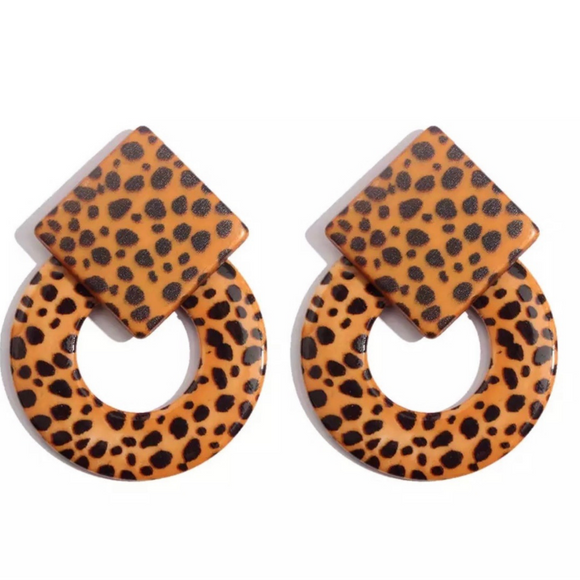 Geometric Leopard Acrylic Stud Earring - FREEda Women NYC