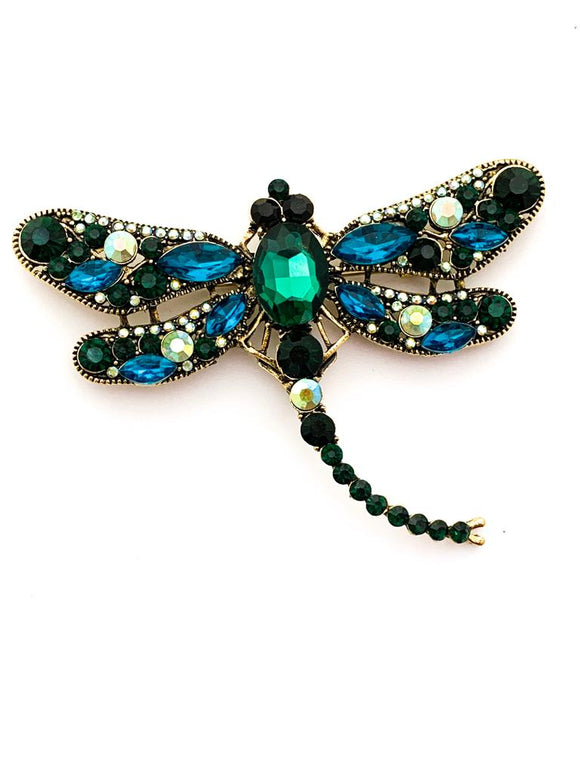 Vintage Crystal Dragon Fly Brooch - FREEda Women NYC