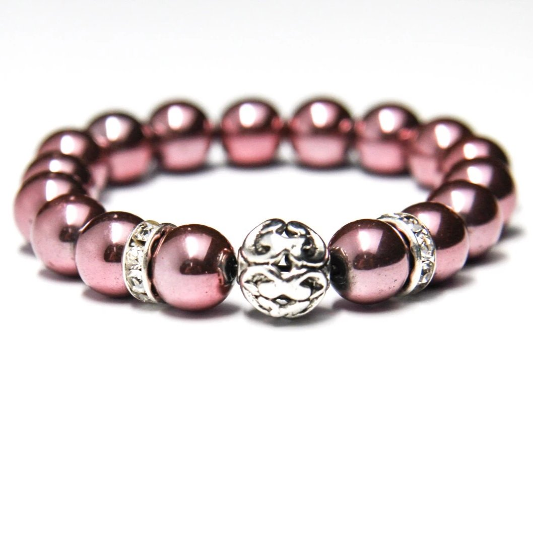 "10mm Rose Hematite Beaded Bracelet - Wrist Size: 7"" and 7.5"""