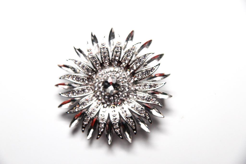 Flower Burst Silver Rhinestone Crystal Brooch Pin