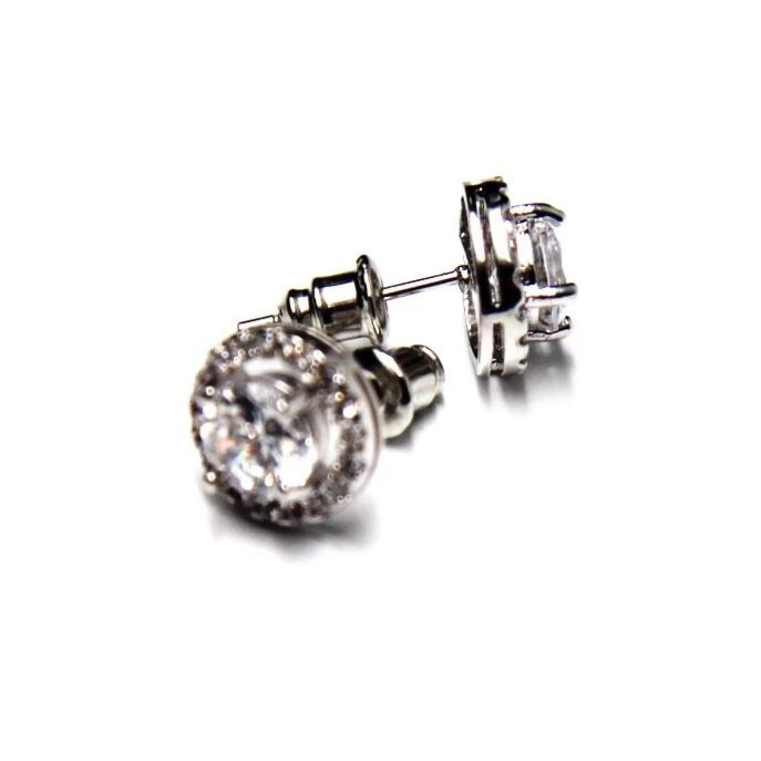 10mm Round Cut Silver Halo Cubic Zirconia Post Stud Earrings