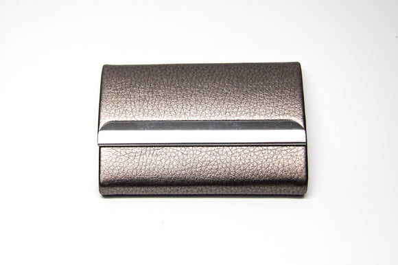 Grey Vegan Leather Business Card Holder with Silver Magnetic Closure - FREEda Women NYC