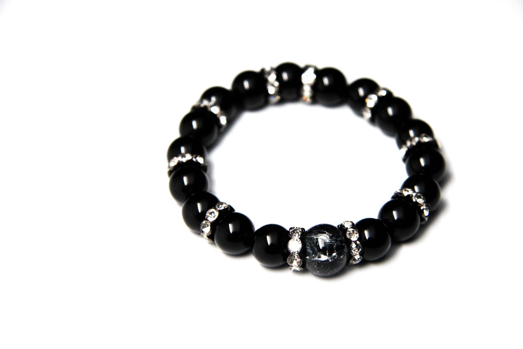 "Black Onyx Stone Beaded Bracelet with Gunmetal Crystal Spaces and Silver Filigree Beads - 7"" and 7.5"" Wrist Size"