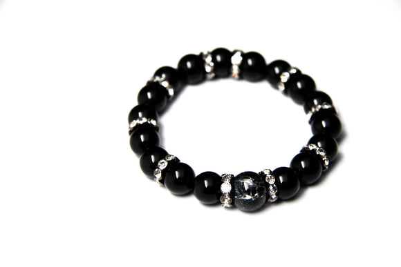 Black Stone Beaded Bracelet - FREEda Women NYC