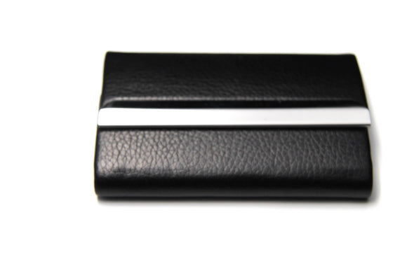 Black Leather Business Card Holder - FREEda Women NYC
