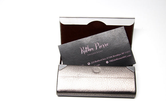 Grey Vegan Leather Business Card Holder with Silver Magnetic Closure