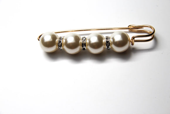 Gold Tone Metal Faux Pearl Brooch Pin - FREEda Women NYC