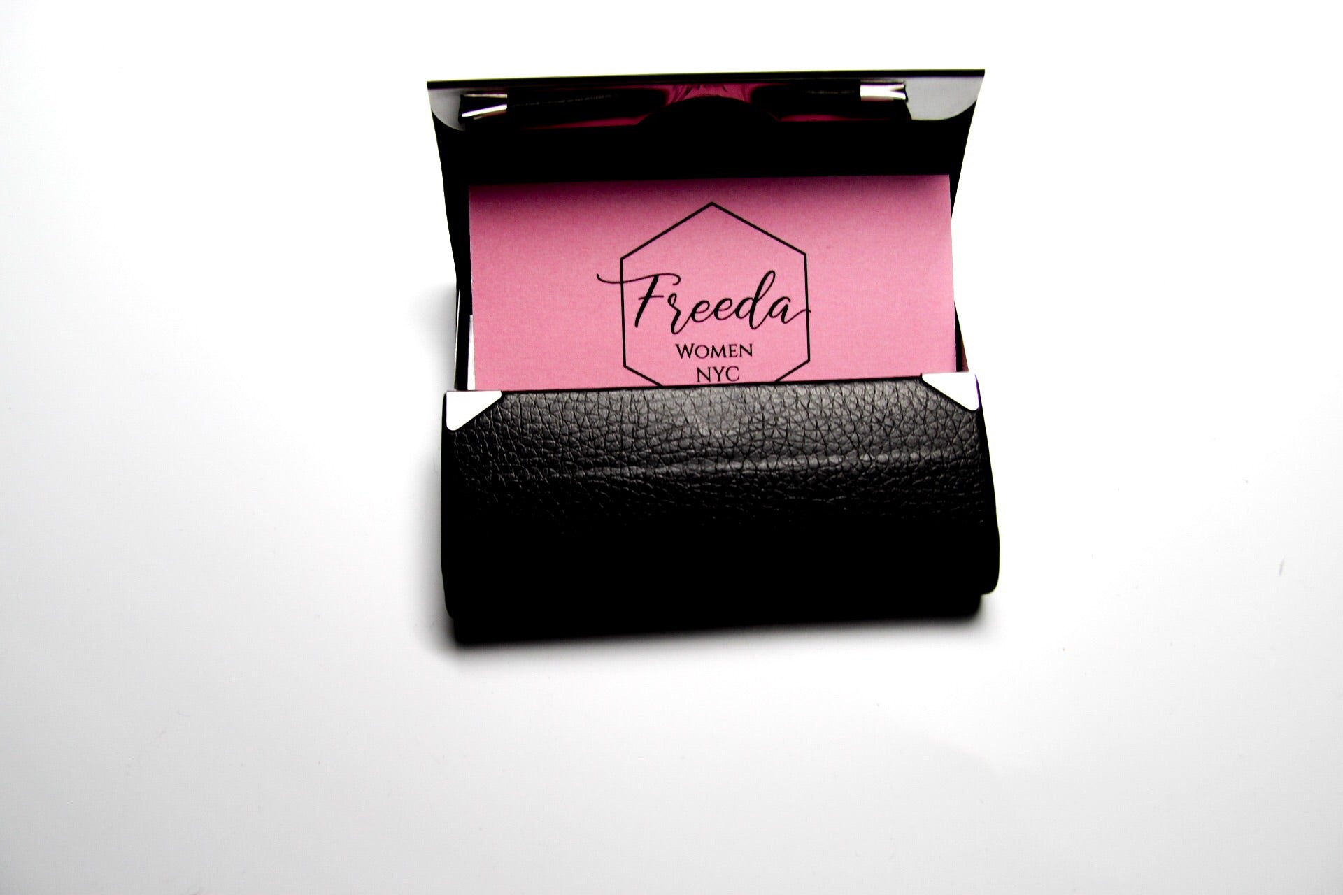 Black Vegan Leather Business Card Holder with Silver Magnetic ...