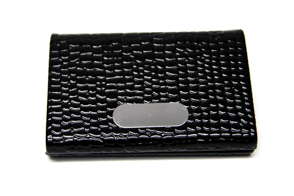 Black Vegan Leather Business Card Holder with Silver Magnetic Closure