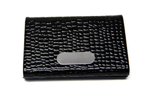 Black Vegan Leather Business Card Holder with Silver Magnetic Closure - FREEda Women NYC