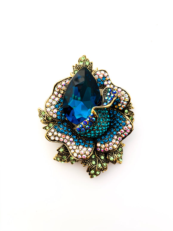 Vintage Teardrop Rhinestone Flower Brooch - FREEda Women NYC